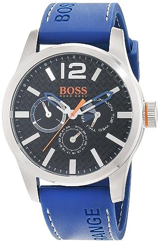 Hugo Boss Orange Paris Men's Quartz multi dial Blue Silicone Strap 1513250: Hugo  Boss Orange: Amazon.co.uk: Watches