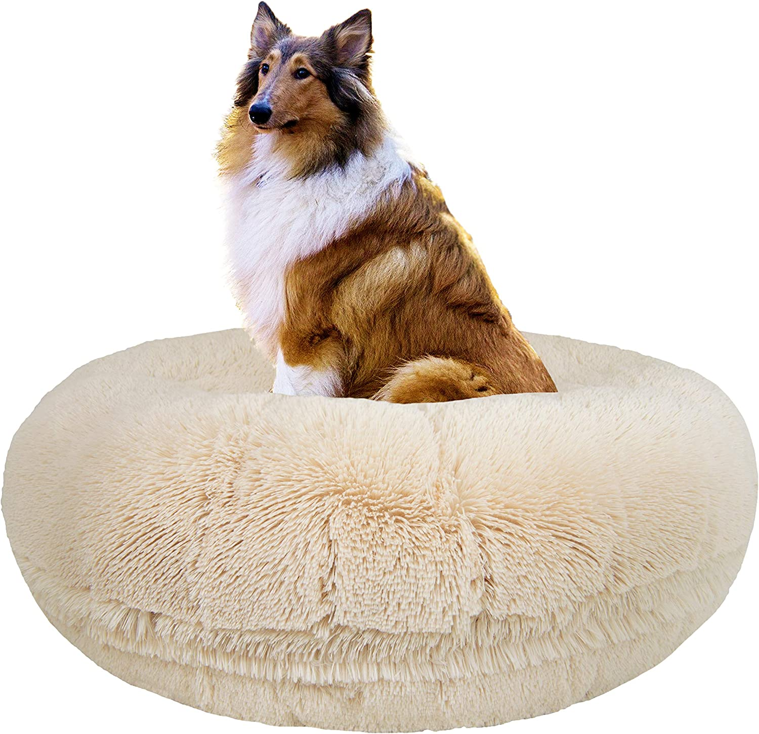 Bessie and Barnie Signature Blondie Luxury Shag Extra Plush Faux Fur Bagel Pet Dog Bed Multiple Sizes