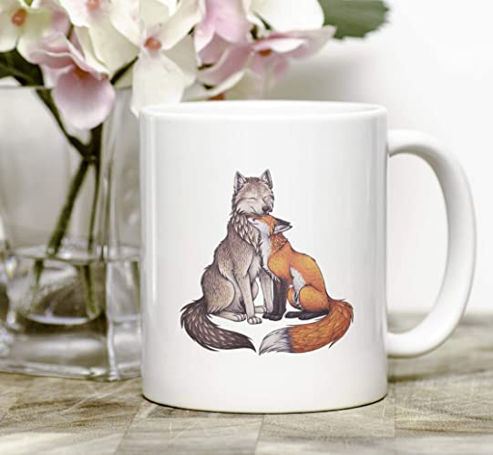 Illustration Fox And Couple Wolf Mug 8PkXn0wZNO