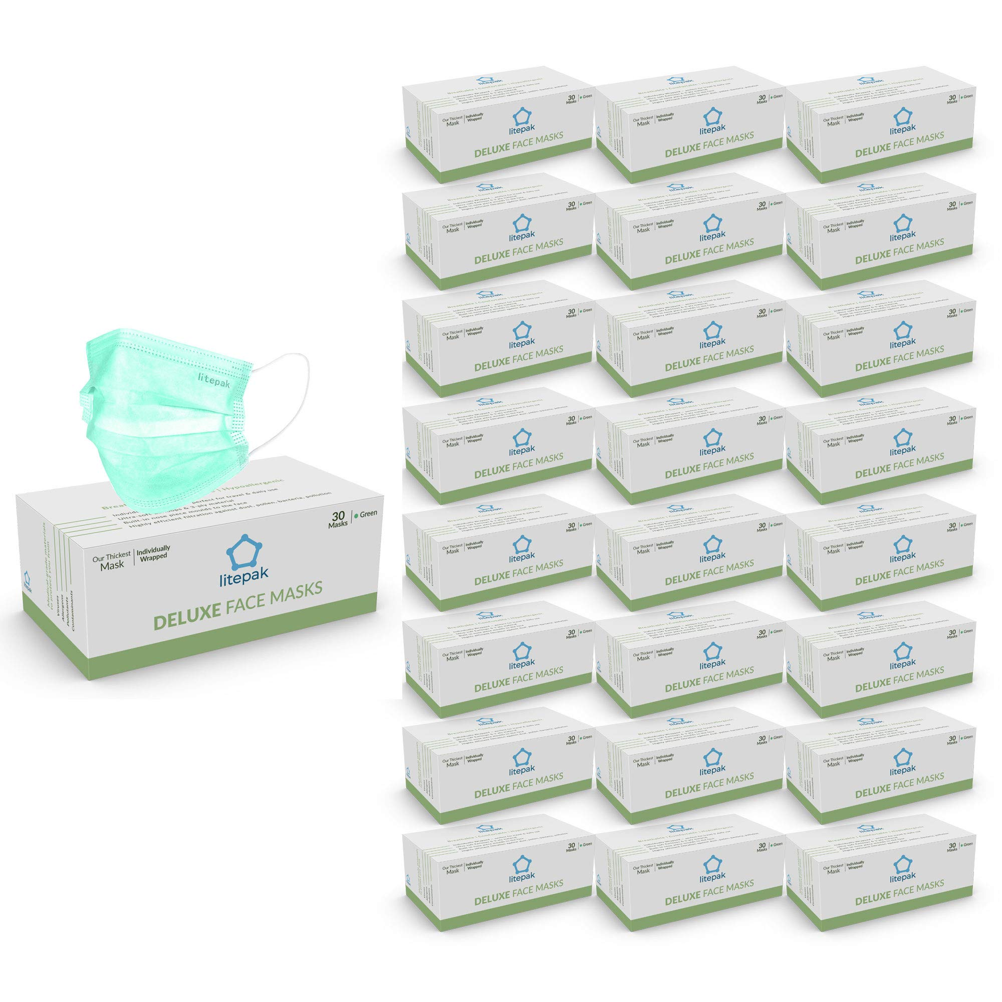 Litepak Deluxe Disposable Face Masks Individually Wrapped Thick Soft, Green (1200 Masks (40 Boxes))