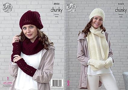 Amazon King Cole Ladies Chunky Knitting Pattern Beanie Scarf