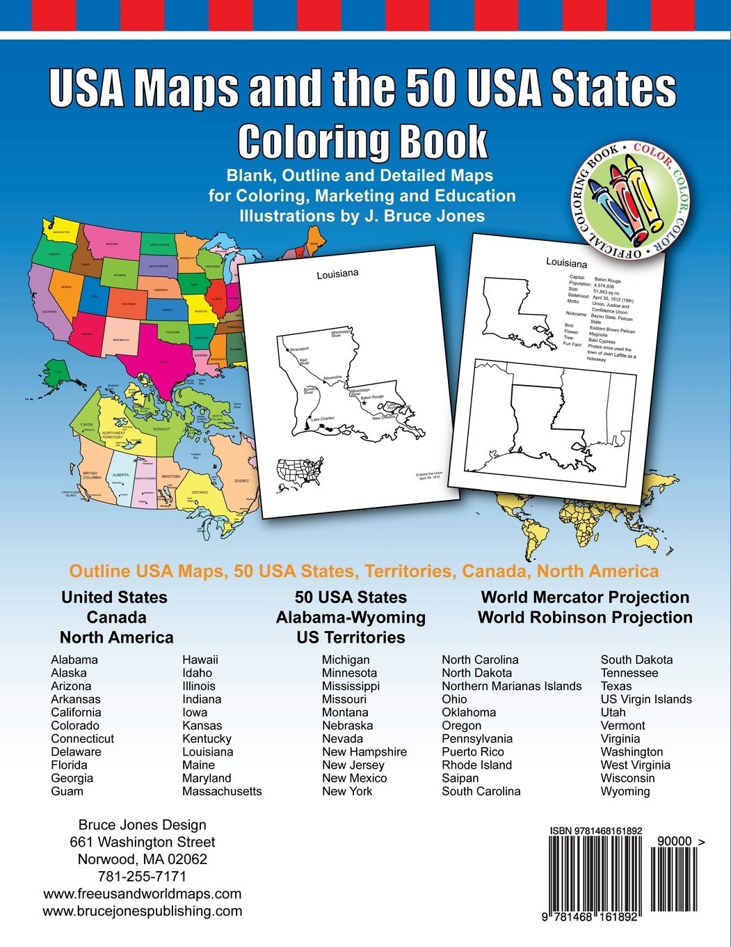 Amazoncom USA Maps And The USA States Coloring Book Includes - Us map with california michigna wiscoinin arizona and florida highlithed