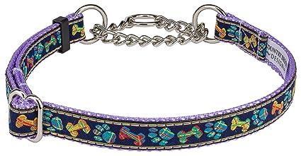 Collars Country Brook Design® Plaid Bones/Paws Ribbon on Lavender Martingale Dog Collar Dog Supplies