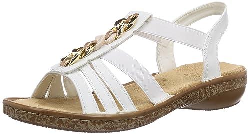 Marke Rieker: Damen Sandalen weiß Gr. 42 mit Keilabsatz in