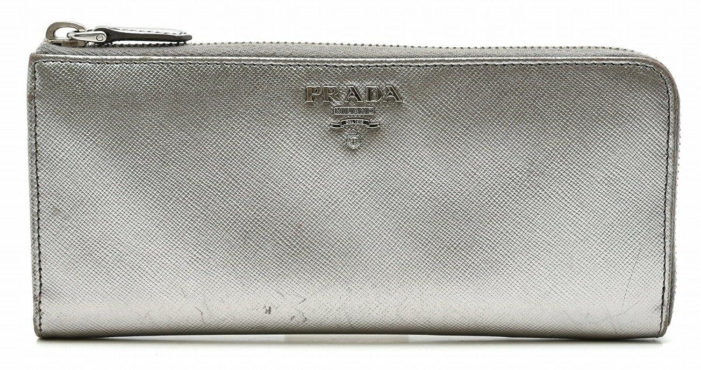 [プラダ] PRADA L字ファスナー 長財布 型押しレザー メタリックシルバー 1M1183 [中古] B07687KMTK