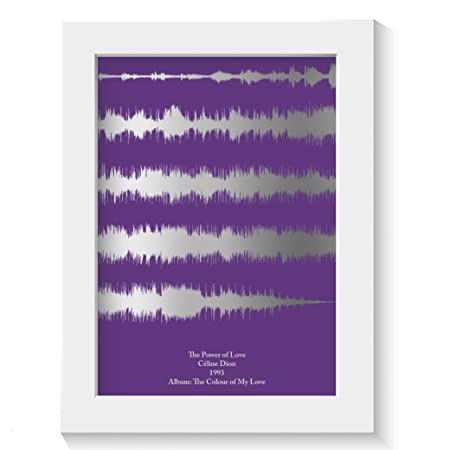 New Home Wall Art Silver Foil Music Lyrics Sound Waves Gift Print