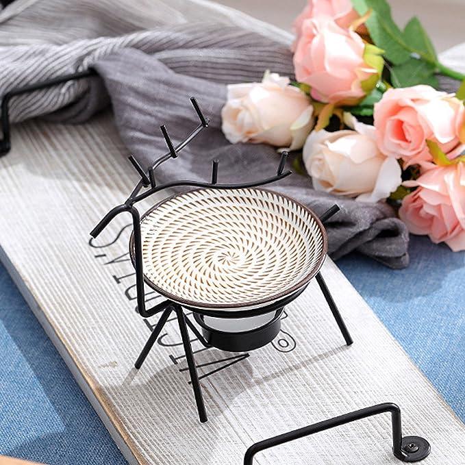 Migavenn Fer Essentiel Aroma Br/ûleur R/échauffeur avec Bougeoir pour Spa Yoga M/éditation Home Office Salon D/écoration Noir