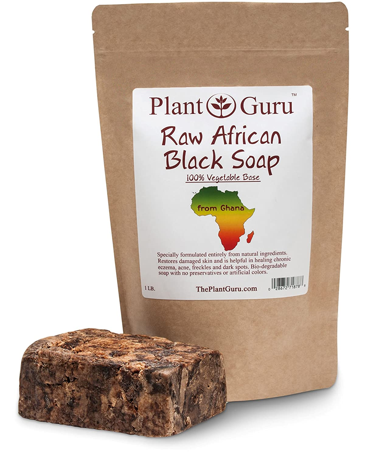 Raw African Black Soap Imported From Ghana - 100% Natural Acne Treatment, Aids Against Eczema & Psoriasis, Dry Skin, Scar Removal, Pimples and Blackhead, Face & Body Wash Plant Guru PG-BS-1lb