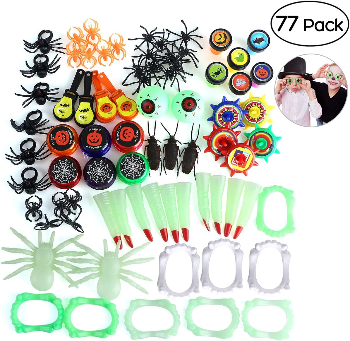 Perfect for Halloween Treats and Prizes Halloween Novelties Toys Assortment for Kids 23 Styles with 101 PCS