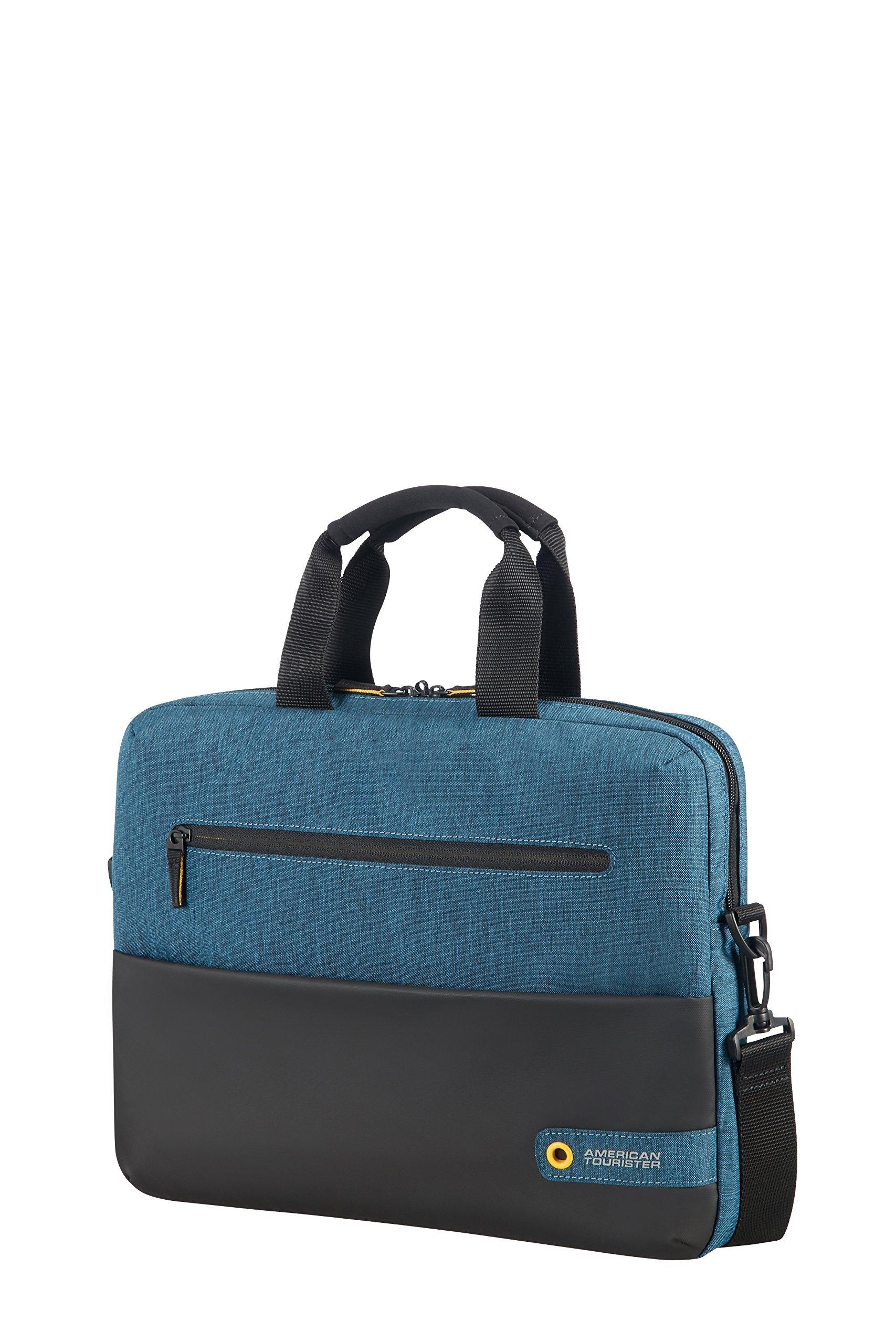 American Tourister City Drift Laptop Bag Portable Handbag Hanger, 41 cm, 10 Liters, Black/Blue