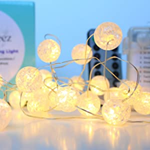 Florabeez Crackle Ball LED String Lights - 30 Led Crystal Globes, 10ft, Waterproof Battery Operated, Remote with 8 Functions and Timer, Hanging Decor for Indoor, Outdoor, Holidays and Photography