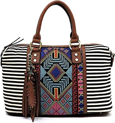 Boho striped canvas satchel bags tote handbags and shoulder purses