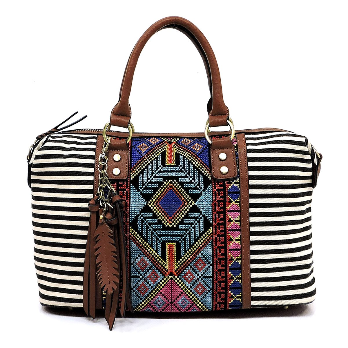 Boho striped canvas satchel bags with long shoulder strap (BLACK)