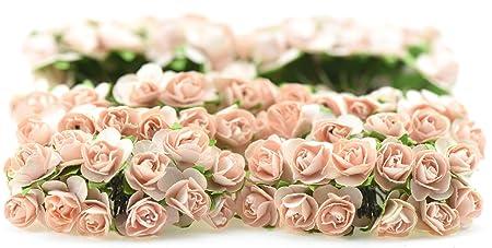 Fiveseasonstuff 144 pcs peachapricot paper rose flowers artificial fiveseasonstuff 144 pcs peachapricot paper rose flowers artificial flowers perfect for wedding mightylinksfo