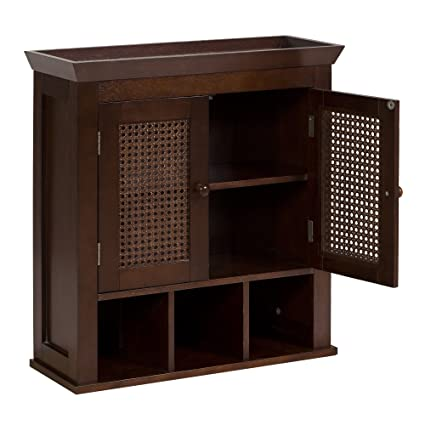 Elegant Home Fashions Wall Cabinet With Cane Paneled Doors And Storage  Cubbies, Espresso