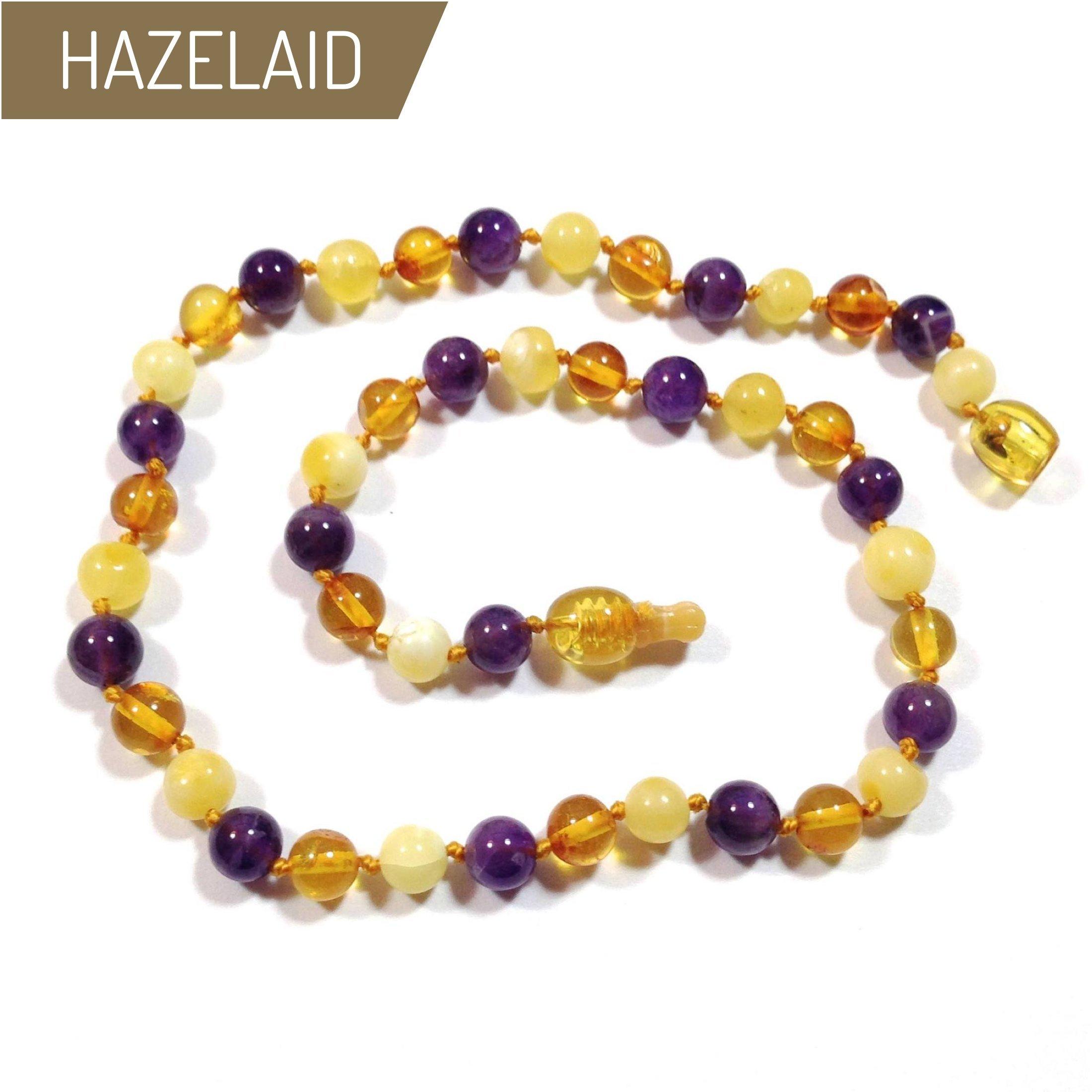Hazelaid (TM) 14'' Pop-Clasp Baltic Amber & Gemstone: Honey & Butter & Amethyst