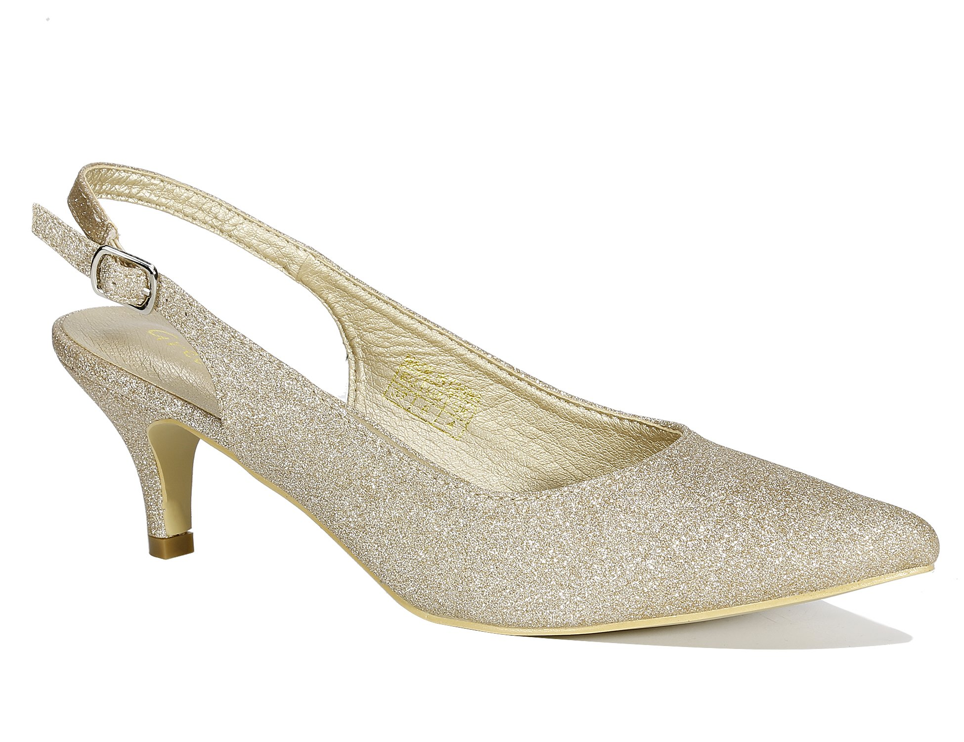 8fde44c630e Galleon - Greatonu Gold Women Shoes Glitter Kitten Heels Slingback Dress  Pumps Size 5