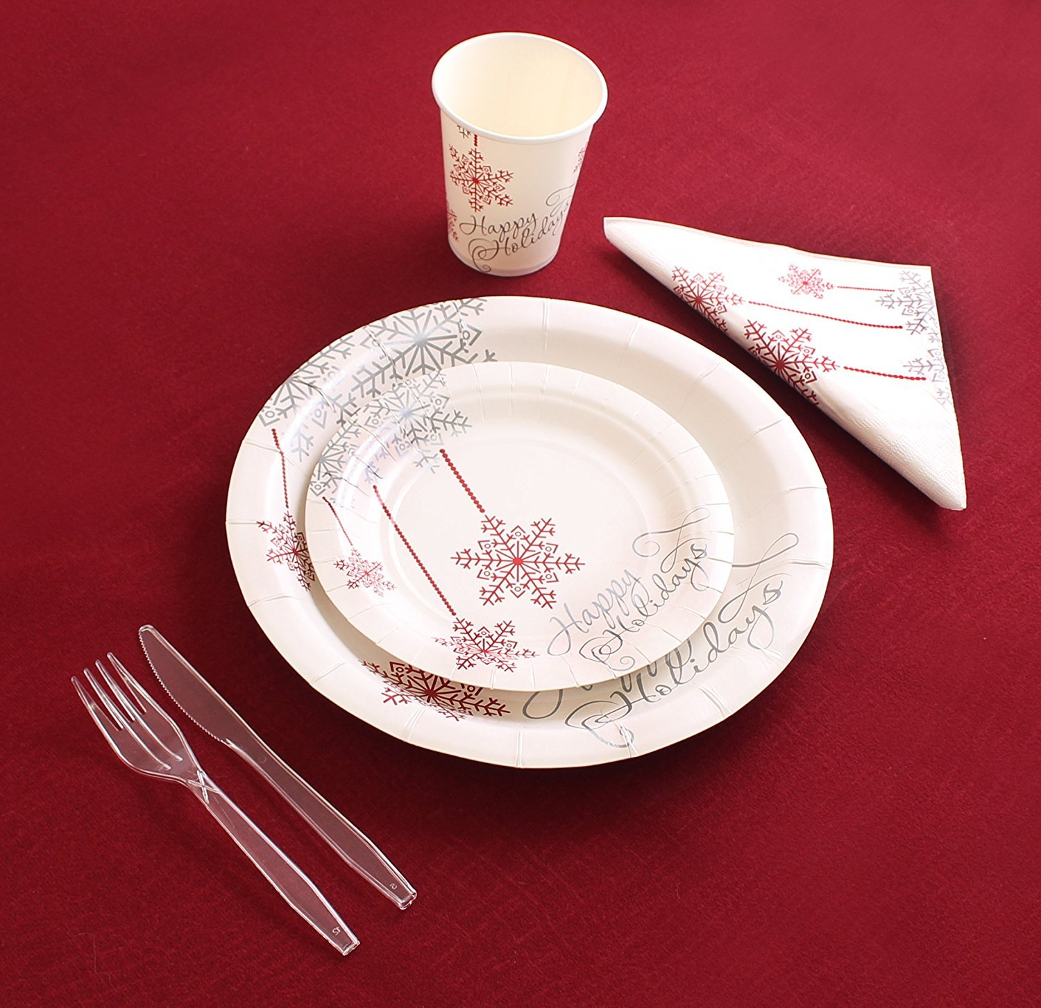 Amazon.com Christmas Disposable Dinnerware for 40 Guests 280 Pieces Set of Paper Plates Cups Napkins Plastic Forks and Knives (PARTY PACK FOR 40) ... & Amazon.com: Christmas Disposable Dinnerware for 40 Guests 280 ...