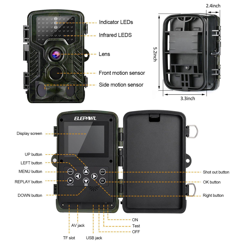 Cámara de Caza 16MP 1080P HD Trail Cámara con Visión Nocturna de PIR Infrarrojo Sensor de Movimiento 2.4 LCD 120 ° Gran Angular y 46pcs IR LEDS ...