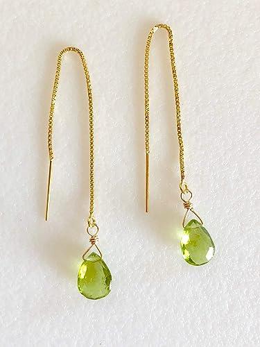31b63d5f8 Amazon.com: Peridot Threader Earrings, Apple Green Peridot Briolettes,  August Birthstone, Delicate Box Chain Threaders, 14K Gold Fill.: Handmade