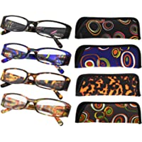 Eyekepper 4-Pack Beautiful Colors Spring Hinge Rectangular Reading Glasses +2.00