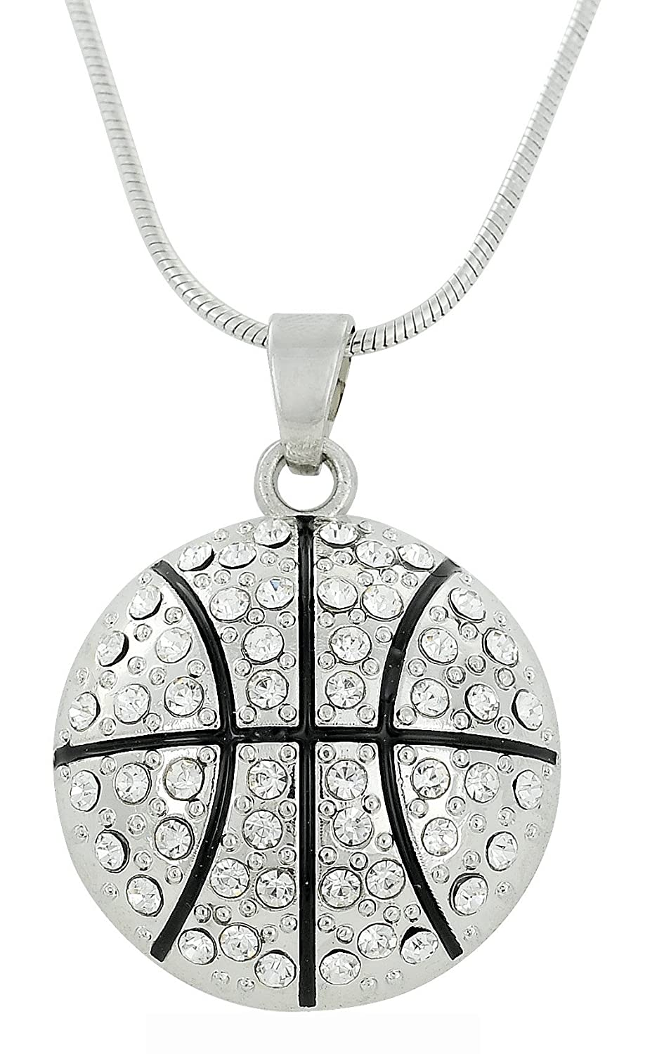 BASKETBALL Charm Crystal Anhänger Halskette Sports Fan Schmuck BiChuang