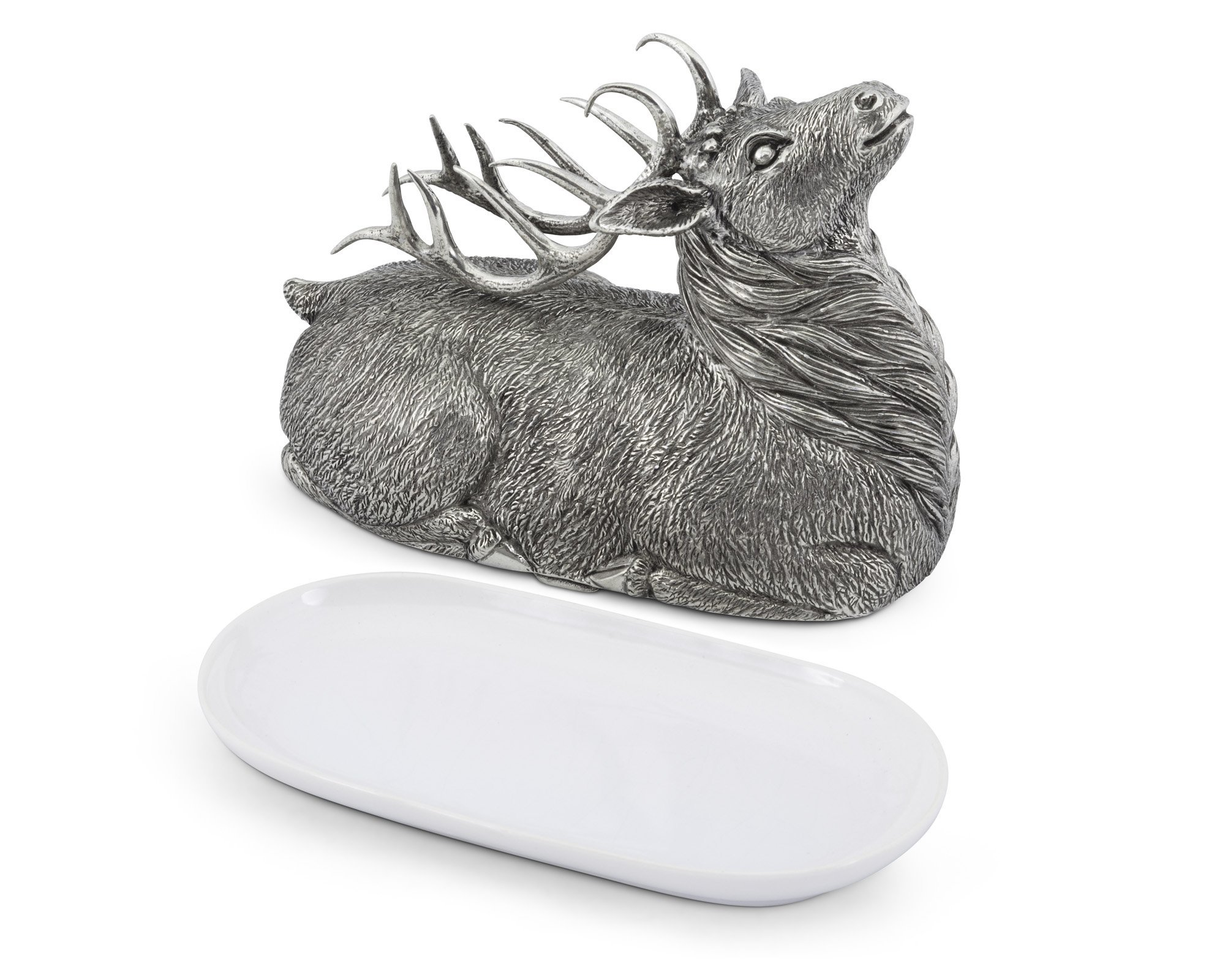 Vagabond House Pewter Stag Butter Cream Cheese Dish 8''Long x 3.5'' W x 5''Tall
