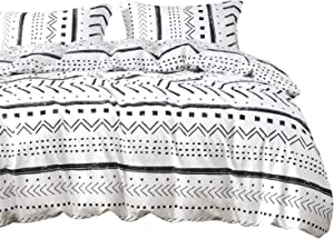 Wake In Cloud - Aztec Comforter Set, 100% Cotton Fabric with Soft Microfiber Fill Bedding, Black Pattern Printed on White (3pcs, Queen Size)