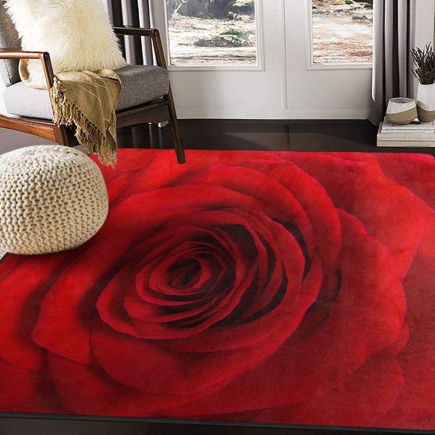 Alaza Valentine S Day Red Rose Flower Area Rug Rugs For Living Room Bedroom 5 3 X4 Home Kitchen Amazon Com