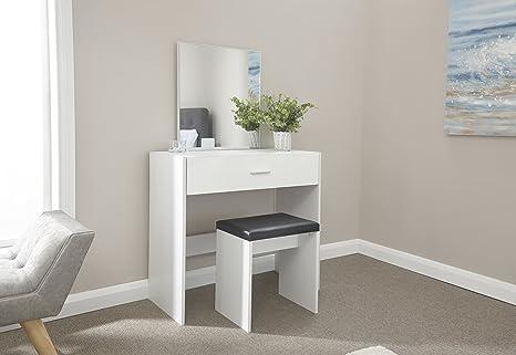 Ottawa set con toeletta ultra lucida sgabello e specchio white