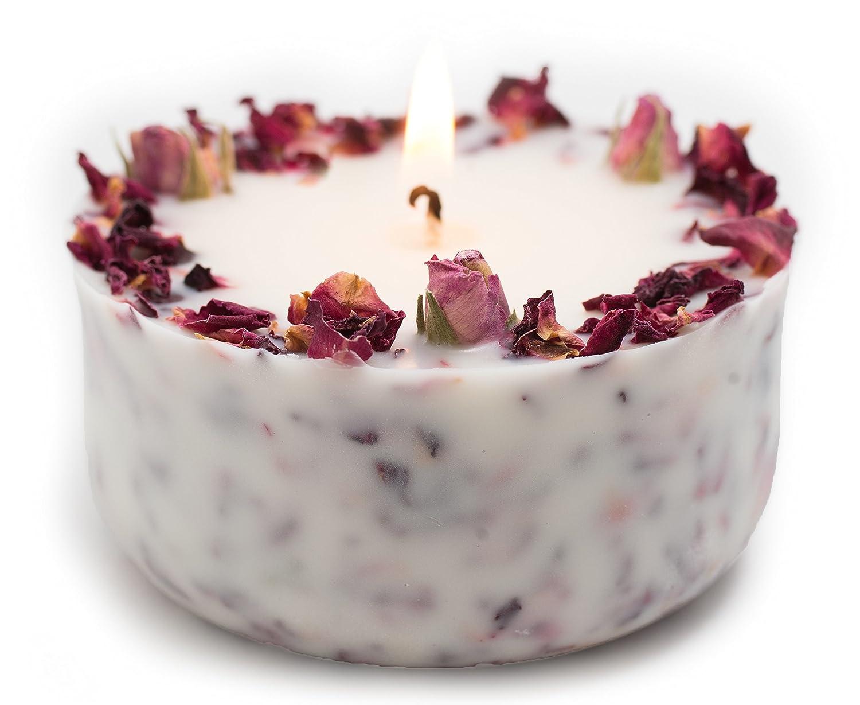 Organici Aromaterapia Soia Cera di Candela con boccioli di Rose Reali marcire Profumato con puro olio di Rosa Geranium Essentiale in contenitore di regalo Sea Salts Wellness