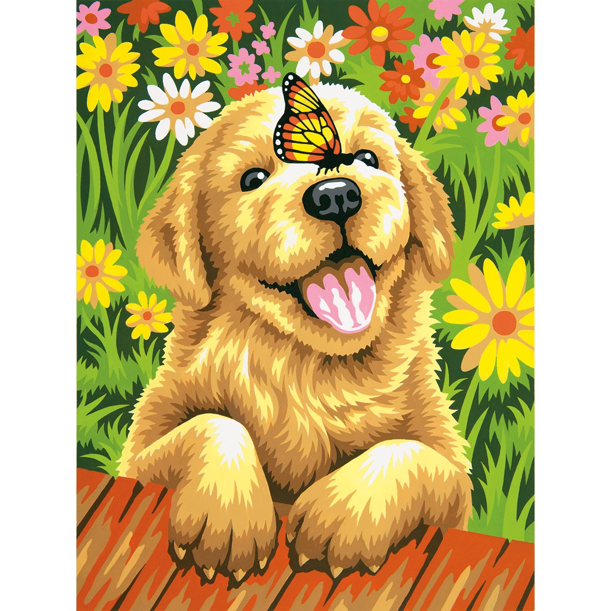 amazoncom dimensions crafts paintworks paint by number kit puppy gardener posters prints