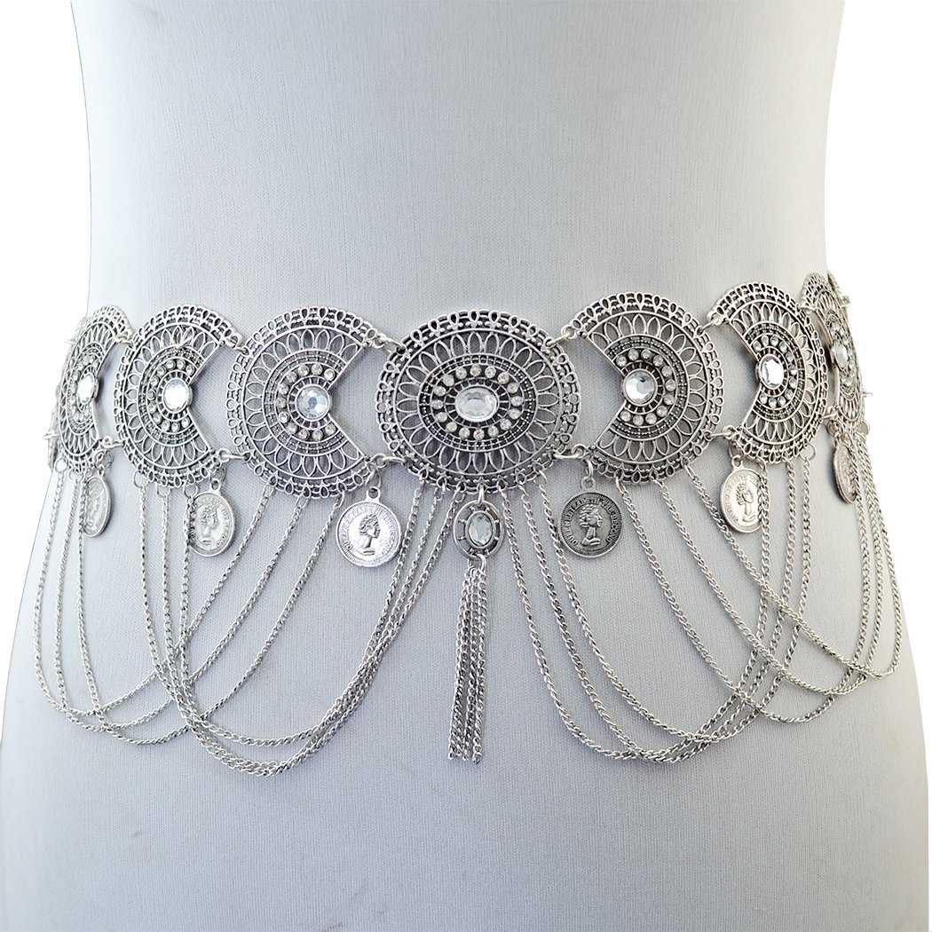 Idealway Vintage Silver/Bronze Waist Chian Hollow out Carving Rhinestone Crystal Body Chain Summer Beach Body Waist Chain Jewelry (Silver)