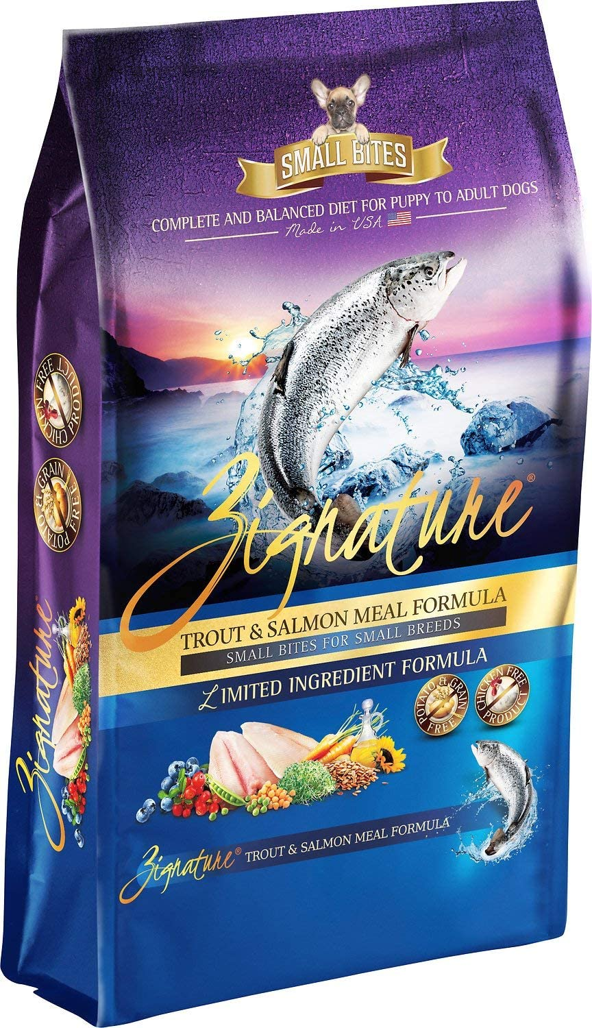 Zignature Trout and Salmon Small Bites Dog Food 4 Pound