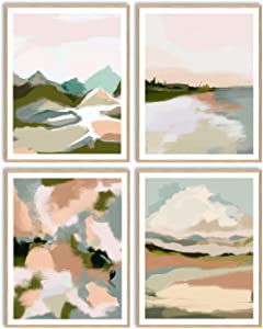 Printsmo Modern Abstract Neutral Earthtones Landscape Art Print Set of 4, Minimalist Art Prints for Home Decor, Boho Style Wall Art Poster Set, 11x14 Inches Each, Unframed