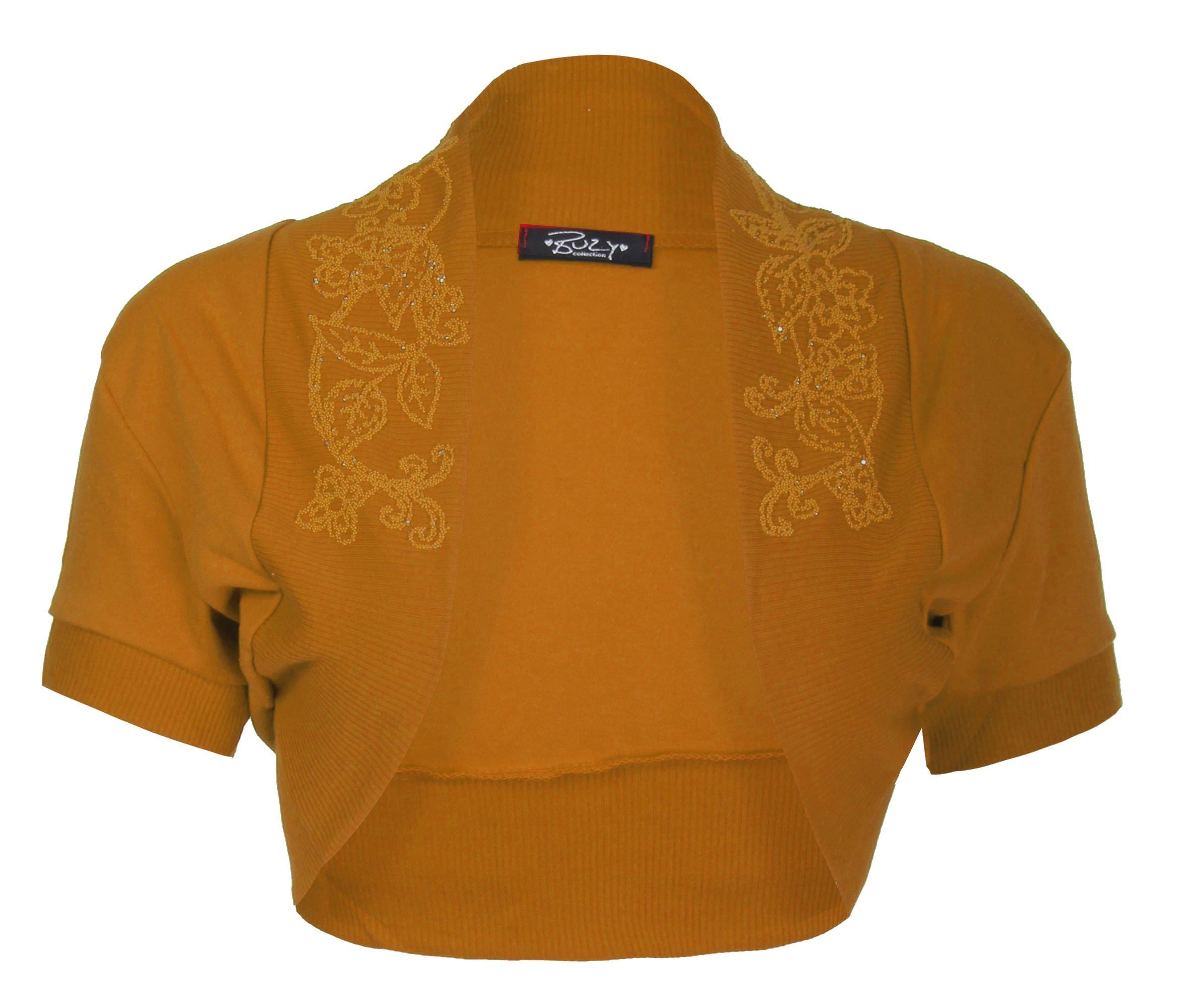 Forever Womens Cap Sleeves Cotton Floral Sequin Beaded Bolero Shrug Top