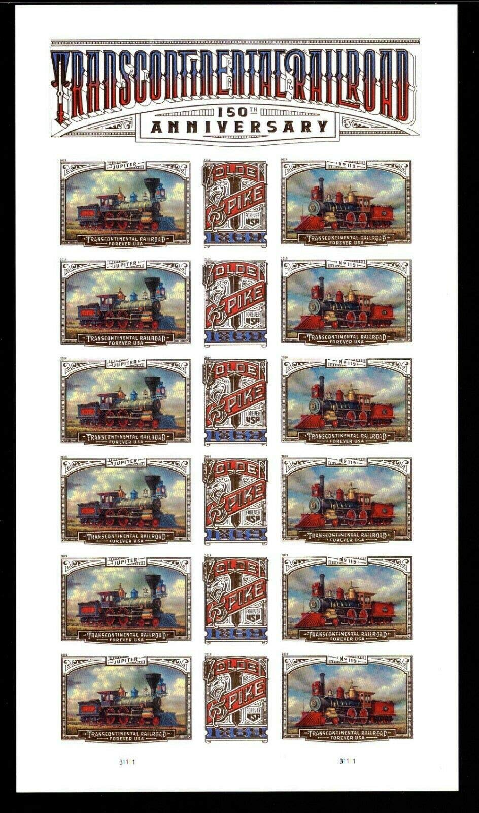 USPS 2019 150th Anniversary Transcontinental Railroad Sheet of 18 Forever Stamps Scott 5380