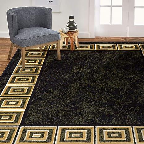 Amazon Com Home Dynamix Optimum Eros Area Rug 21 X35 Geometric Greek Key Black Beige Furniture Decor