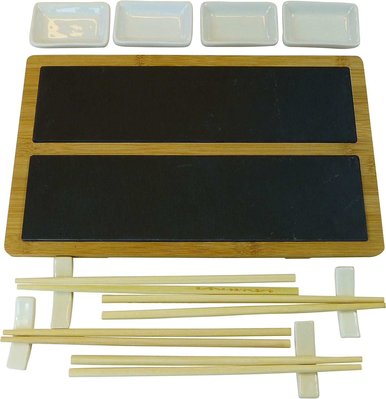Alpina Sushi - Juego de platos para sushi (33 x 20 cm, pizarra y bambú, con palillos y cuencos para 4 personas): Amazon.es: Hogar
