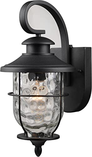 Hardware House LLC 21-2199 1-Light Lantern with Photo Cell Black Wall Lantern Light Fixture with 1- Light Has Photo Cell for Dust to Dawn Operation Clear Water Glass Shade