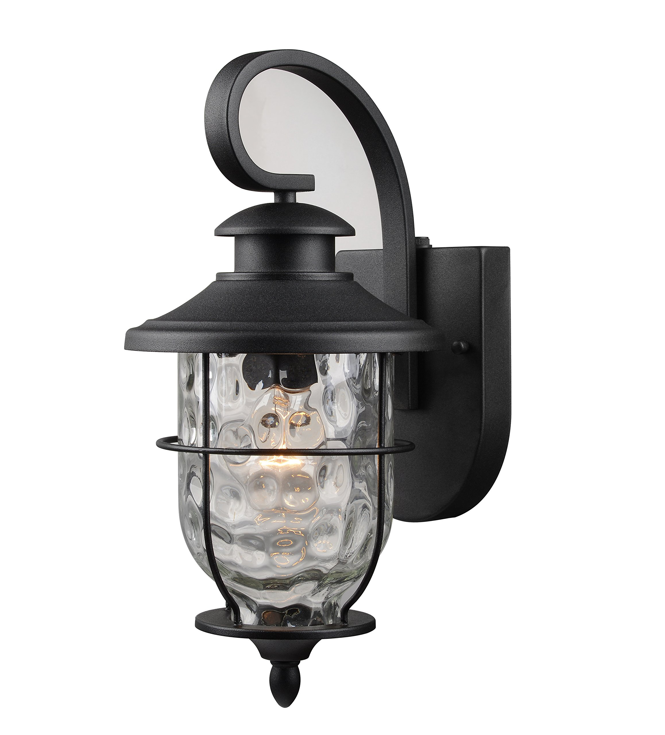 Hardware House LLC 21-2199 # 1-Light Lantern with Photo Cell Black Wall Lantern Light Fixture with 1- Light Has Photo Cell For Dust To Dawn Operation Clear Water Glass Shade