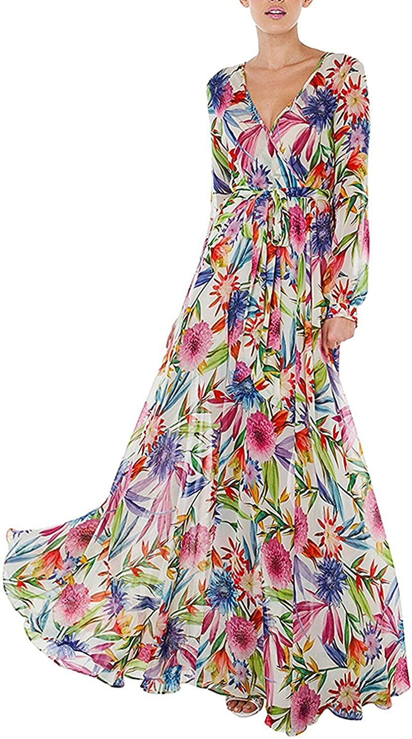 Asmax Haoduoyi Women S Tropical Floral Print Pleated Tunic V Neck Wedding Maxi Dress At Amazon Women S Clothing Store,Dresses To Go To A Wedding