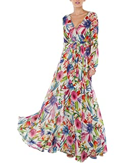 27a044d5edcd8 ASMAX HaoDuoYi Women s Tropical Floral Print Pleated Tunic V Neck Wedding  Maxi Dress