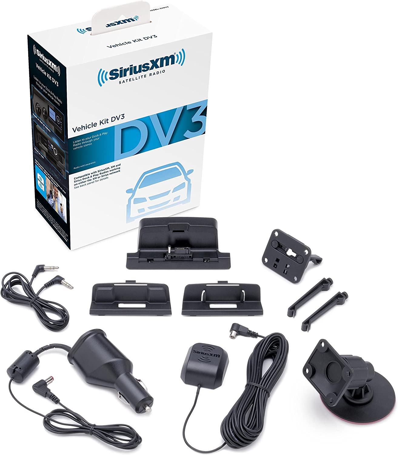 SiriusXM SXDV3 Satellite Radio Vehicle Mounting Kit with Dock and Charging Cable (Black) (Renewed)