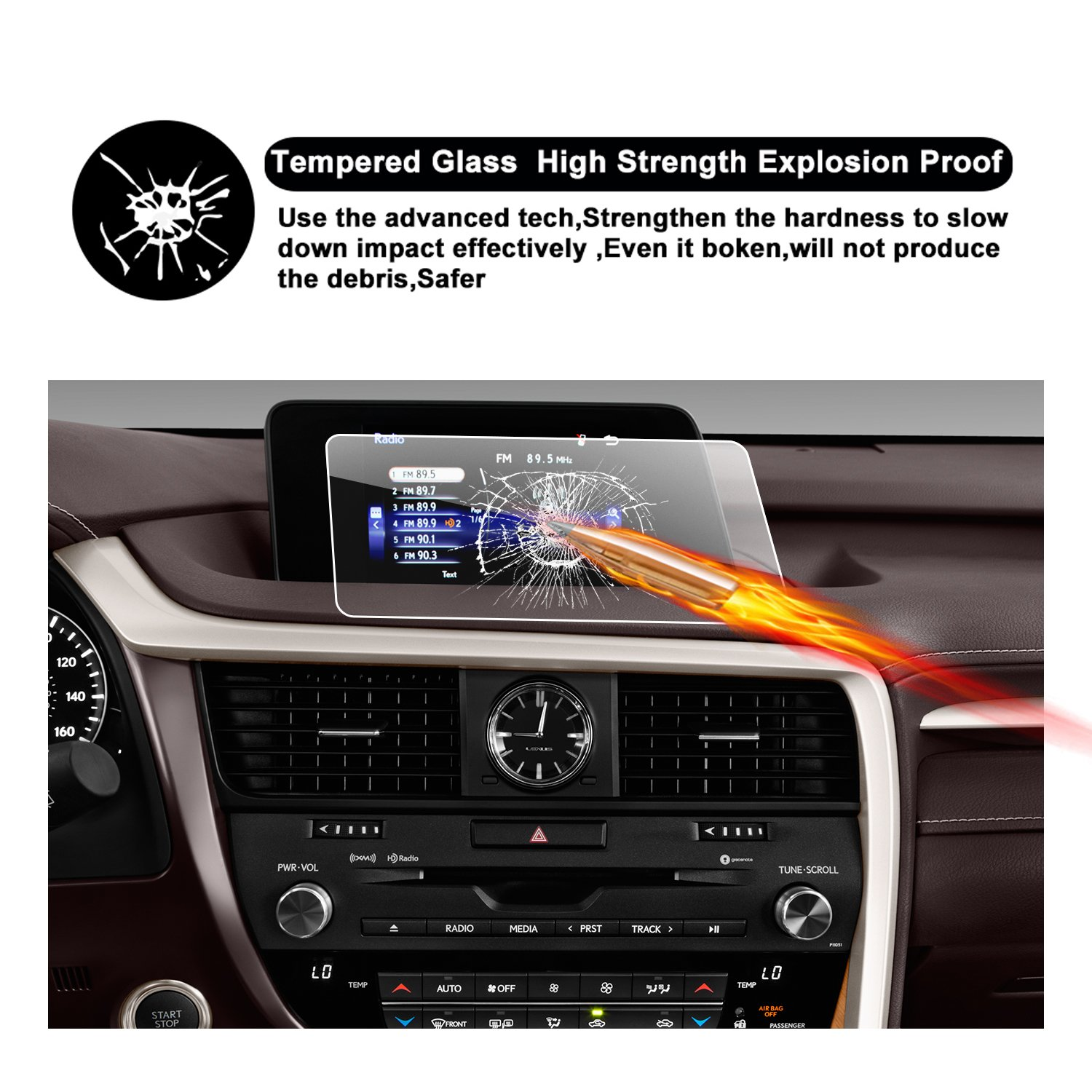 RUIYA HD Clear TEMPERED GLASS Car In-Dash Screen Protective Film 2016 2017 Lexus RX 350 8-Inch Touch Screen Car Display Navigation Screen Protector