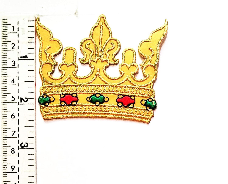 Parche dorado con diseño de corona de rey y princesa, para niños ...