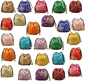 Chinese Silk Brocade Embroidered Drawstring Jewelry Pouch Bag Colors Value Set 26 pcs