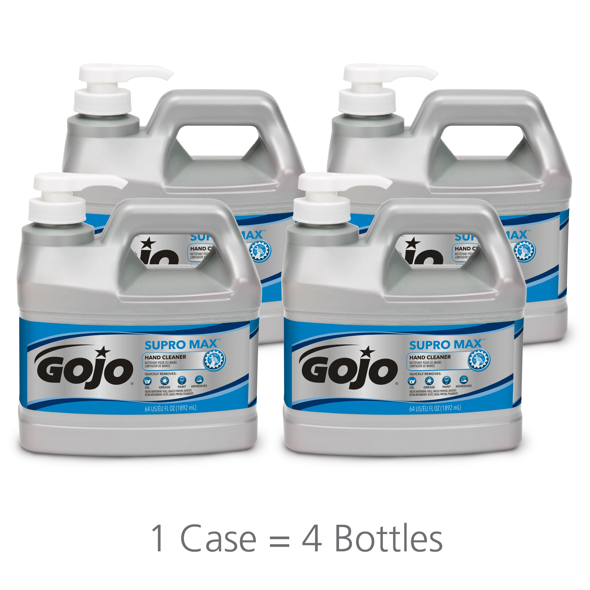 GOJO SUPRO MAX Hand Cleaner, 1/2 Gallon Heavy Duty Hand Cleaner Pump Bottles (Pack of 4) – 0972-04
