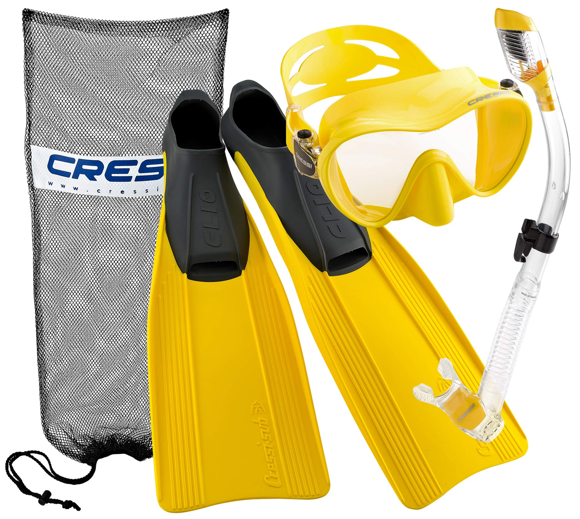 Cressi Clio Full Foot Fin Frameless Mask Dry Snorkel Set with Carry Bag, Yellow, Size 7/8-Size 41/42 by Cressi