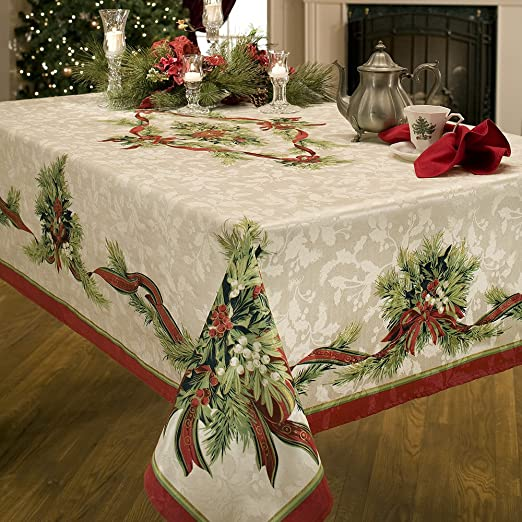 Benson Mills Christmas Ribbons Engineered Printed Fabric Tablecloth 60-Inch-by-120 Inch